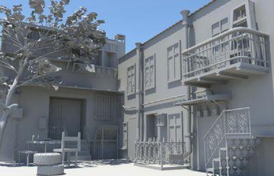 欧美普通家庭住宅,房子庭院maya模型,黑势力管制区