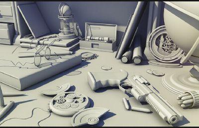 各�N玩具�[件的��桌�o物maya模型