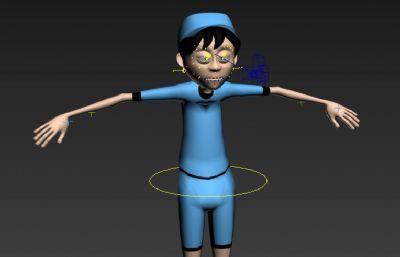 带部分绑定的小男孩max模型