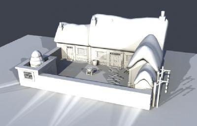 雪景下的民房房子场景maya模型