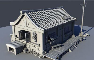農屋,民房,農民住宅瓦房場景maya模型