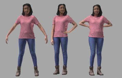 黑人女人OBJ模型(�W�P下�d)