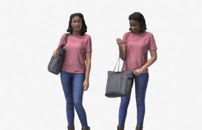 提包的黑人女孩OBJ模型(�W�P下�d)