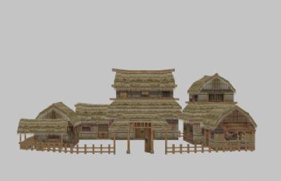 �|邪山村居所,茅草屋3D模型