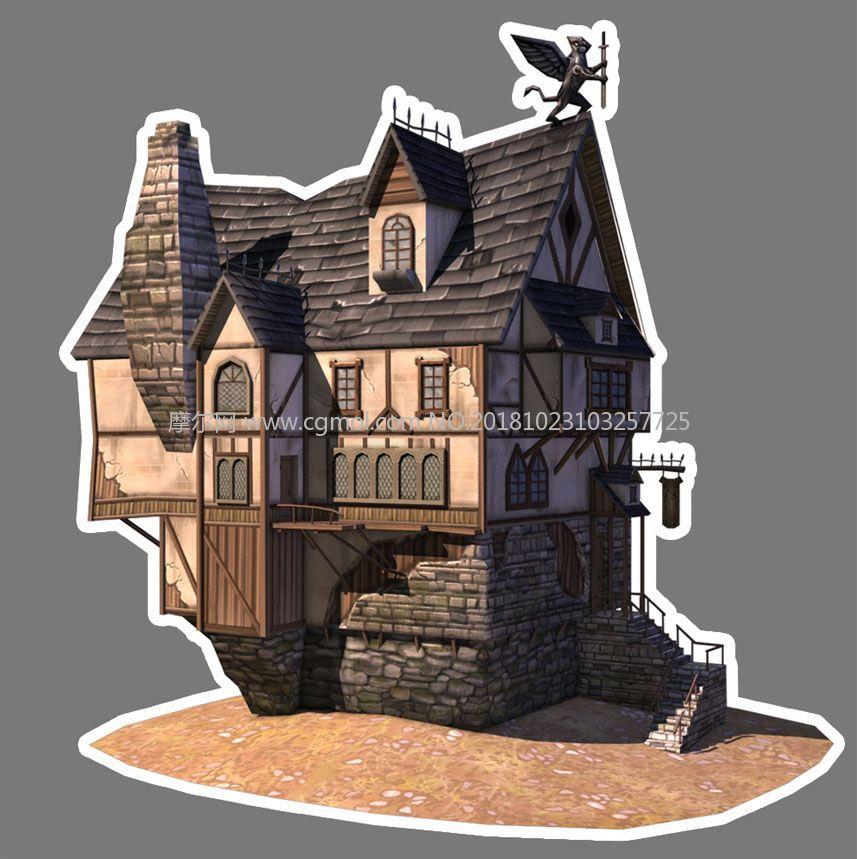 中世纪西方卡通房子maya低模模型,古代场景,场景模型图片