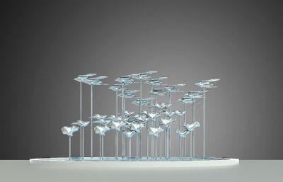 飞鸟雕塑设计max模型