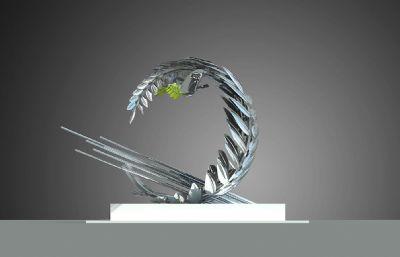 和平鴿橄欖葉雕塑設計