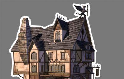 中世�o西方卡通房子maya低模模型