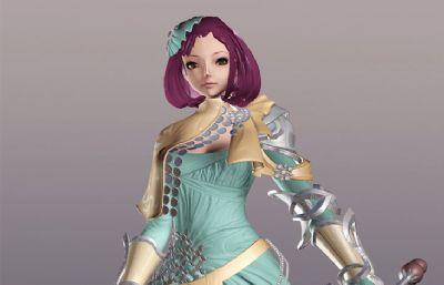 次时代游戏里的女剑士maya模型,带2K贴图