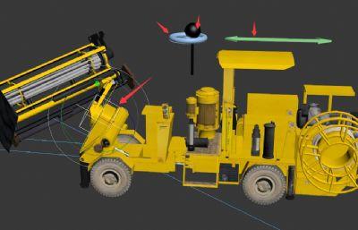 采矿凿岩台车,钻孔机3D模型