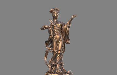 仙女,仙姑雕像stl,obj模型,3D打印