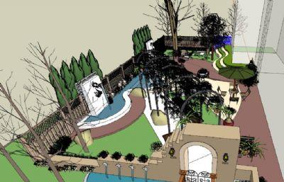 中式花园庭院设计su模型