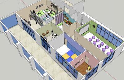 心理咨询室整体设计鸟瞰图