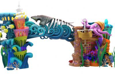 海底世界,海洋公园,水上乐园门头,有材质