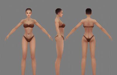 女人内衣裸模,游戏模型