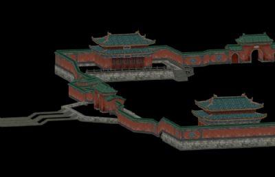 武当山围栏城墙,游戏低模