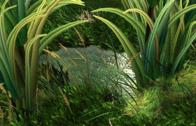 MAYA草地,水坑,水草,绿地?#35789;?#22330;景,草有动画可飘动