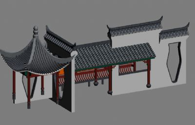徽派公交站max模型
