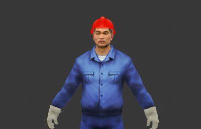 工人,�{色工作服煤�V�V工max模型
