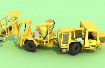 装药车,安装车,矿山炮孔装填炸药的自行式设备max模型