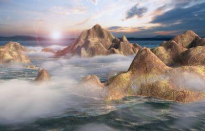 卡通海岛,小岛,岛屿,岛礁场景Maya模型