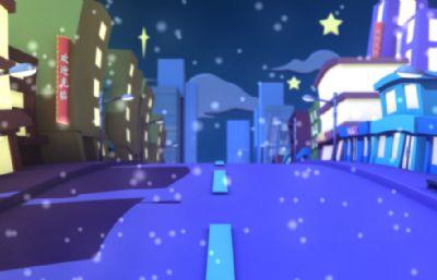 卡通城市街道,春节新年风格店铺建筑,无雪景