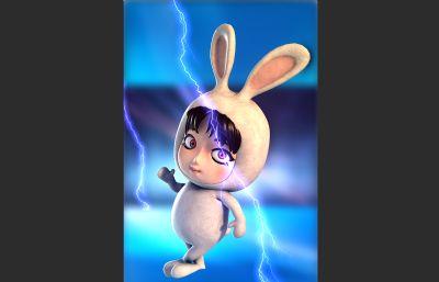可爱的卡通兔子一只,有绑定,maya模型