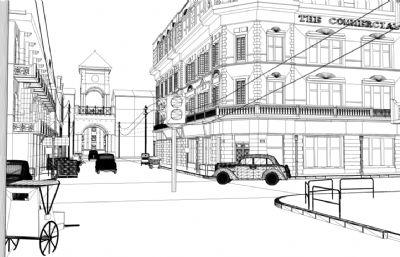 上海滩,旧上海街边一角maya场景,汽车游动动画(网盘下载)