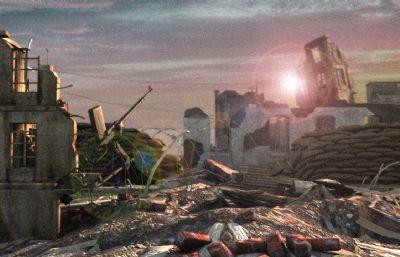 海边废墟场景,海边工事据点maya模型(网盘下载)