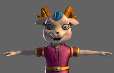 maya卡通羊一只,带材质,带绑定