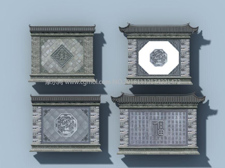 照壁max中式建筑模型,贴图清晰