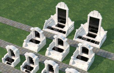几款白色大理石墓碑max模型,VR材质