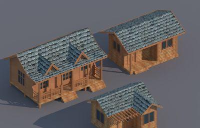 三款木屋,木别墅,欧式住宅风格