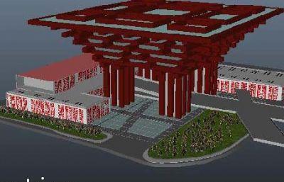 中国馆-世博会建筑maya模型