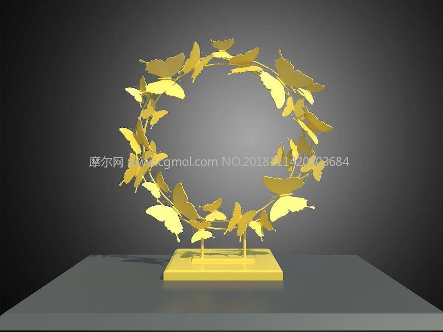 蝴蝶圆环雕塑设计