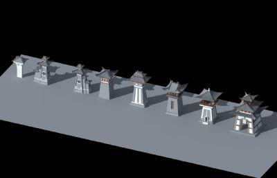8款汉代石阙汉式钟楼,汉阙max模型