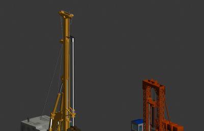 旋转施工钻机,钢护筒施工模型
