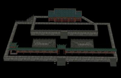 游戲里的一個城墻房屋皇宮模型