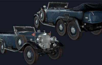 简单绑定的古典奔驰车,老爷车模型