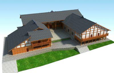 三合院�r房,新�r村民房max模型