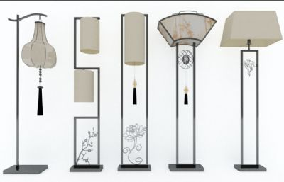5款中式落地灯,台灯max模型