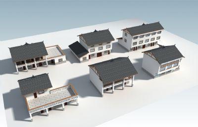 6款新�r村�r房�L貌打造,新民房max模型