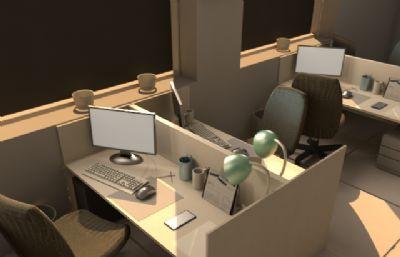 maya室内办公室模型