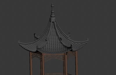 六角园林亭台max2016模型