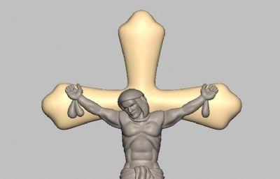 耶稣十字架吊坠STL模型