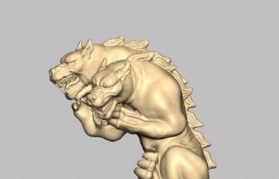 地狱犬,三头狼,地狱狗STL模型