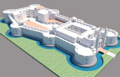 城堡古堡整体设计,带层数内部构造