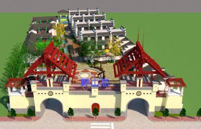 野山恋度假村,休闲山庄整体设计su模型