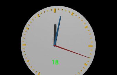 时钟,带标准时针,分针,秒针走动动画