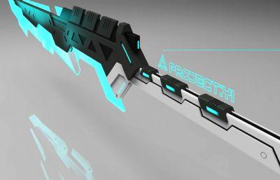 科幻激光未来单手剑武器简模,无贴图,FBX,OBJ格式